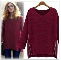 Wholesale Camisola Autumn Women Sweater Long Sleeve Pullovers Winter Sweater Celebrity Style Zipper Knitted Casual Vestidos Femininos