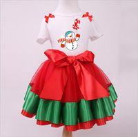 ballet snow - 30 TOPB4613 color kids Christmas suits sets Santa Claus T shirts skirts snow man tops skirts bow TuTu Pettiskirts Ballet Tulle Skirts