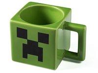 Wholesale New Christmas Cartoon Minecraft Creeper Face Ceramic Coffee Mug Green Color Drinkware Mugs Cups Water Bottles Christmas Decorations