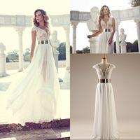 Cheap Real Sample 2014 Hot Julie Vino Beach Wedding Dress Split Side V neck Cap Sleeves Beading Chiffon Bridal Gown with Gold Belt