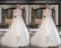 Cheap Grecian 2015 Spring Ivory Organza A-line Sheer Lace Jewel Cap Sleeve Appliques Court Train Wedding Dresses With Wraps Custom Made Q031436