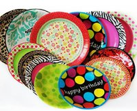 Wholesale 10 Pieces inch Disposable Tray Cake Pans Grill Paper Plates Tableware For Kids Birthday Wedding Party Nursery Supplies