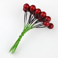 berry stock - 8mm Foam red berry with Stem Cute Artificial Mini Home Decorate Accessories red berry for DIY crafts