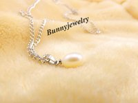 Wholesale Natural mm Teardrop Pearl Necklace quot Silver Plated Chain Waterdrop Real Pearl Chokers