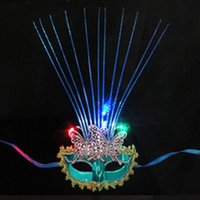 Wholesale Light Up Flashing LED Lady Woman Princess Venetian Double Butterfly Lace Mask Masquerade Party Ball Carnival Wedding Decoration Masks