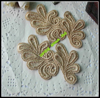 Wholesale Gold Flora Lace Embroidery Sewing Craft Motif Patch Appliques Lace For Hair Ornament Bow DIY Accessory