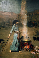 Wholesale figurative art posters canvas painting portrait pictures mural prints art The Magic Circle By John William Waterhouse