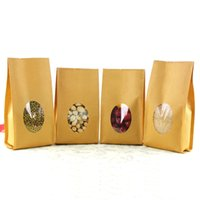 accordion stand - 10 cm Stand Up Open Top Kraft Paper Favor Organ Bag W Clear Window For Nuts Party Gift Packaging Accordion Pocket