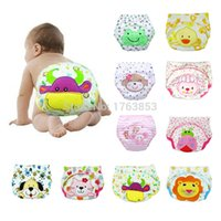 Wholesale cartoon baby training pants cloth diapers waterproof potty training pants toddler newborn underwear Washable Reusable