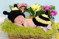 baby bee costumes - High Quality Baby Beanie Sets Bee Photography Props Children s Crochet Cotton Infant Costume Outfits DEG4