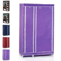 Wholesale Wholesales Brand New Portable Non woven Wardrobe with Hanging Rail Closet Home Furniture Storage JC0106