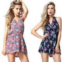 Wholesale New Arrival Women Jumpsuits V Neck Backless Sexy Rompers Comfortable Stylish Short Pants For Summer Beach ESW27
