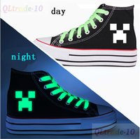 Wholesale AAAA quality New creative Minecraft canvas shoes men and women JJ strange increased high top canvas shoes canvas shoes LJJD971