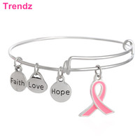 beaded cancer bracelets - New Alex Ani Bangle Pink Ribbon Breast Cancer Sign Charms Bracelets Styles Stainless Steel Expandable Wire AA201580