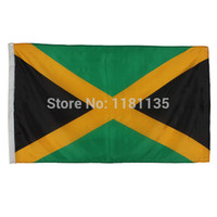 Wholesale 90x150cm Hanging big Jamaica National flag ft for Festival Home Decoration JM flag banner support Rope