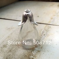 apothecary - Clear Tear Drop Bottle with FLAT base Charms with sterling SILVER plated mount lid GlassTerrarium Bottle Apothecary Bottle