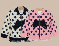 2015 Good Quality Hoodie Children's Long Sleeve Dots Printed Bow Tie Jacket Coat,Floral Drapes Fashion Spring NEW Coat,4 Pcs Lot A