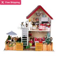 al por mayor amante de bricolaje de madera montar-Envío gratuito modelo de la casa DIY amante ideal casa de muñecas en miniatura / Ensamble casa de muñecas de madera / Madera Niños Mini juguete de madera