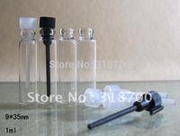 Tester perfume Prix-1000pcs / lot 1ML mini-échantillon de parfum bouteille en verre testeur flacon 1cc de verre avec bouchon PE, petite bouteille de parfum en verre