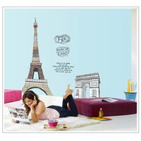 arch cabinet - Eiffel Tower Arch of Triumph Wall Decal Removable Sticker for Bedroom Art Decoration Mural Decor cm adesivo de parede order lt no track