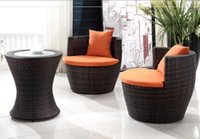 rattan outdoor furniture - freeshipping Imitation rattan chair three piece tea table set outdoor garden courtyard imitation rattan leisure furniture