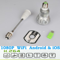 Wholesale Promotion WIFI HD P E27 Bulb CCTV Home Security DVR Camera Digital Video Recorder Night Vision dropshipping