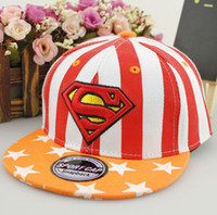 Wholesale Parents And Children Superman Baseball Cap Snapback Boy And Girl Baby Striped Bone Cap Flat Diamond Family Travel Hat