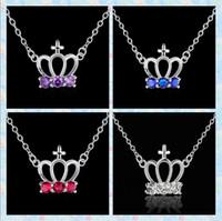 al por mayor los collares de color rojo la corona-925 plateó el collar de cristal colgante corona púrpura / azul / rojo / blanco