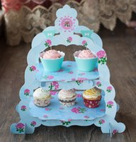 Wholesale Birthday Wedding Cupcake Maracon Dessert Double Tier Paper Cake Stand Blue Pink Green to Choose European Best Selling