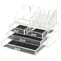 bead storage drawers - 2 in Makeup Cosmetic Storage Box Acrylic Four Drawers Transparent Bead Rings Jewelry Display Boxes Organizer Holder Container