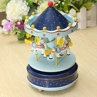 Wholesale Bless Animated Classic Horse Go Round Musical Carousels Box Classic Christmas Kid Children Birthday Gift