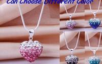 Precio de Mixed crystal beads-nueva manera de Hotsale Mircro pavimenta los colores mezclados los granos de plata del corazón de la arcilla plateó el collar de cristal colgante Shamballal cambio gradual