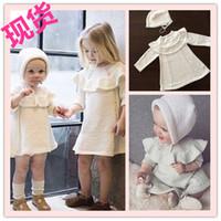 kids clothes high quality - Girls Princess Ruffles Sweater Dress Woolen Knitted Crochet Child Dress High Quality Baby White Dress with Hat Autumn Kids Clothes