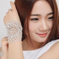 armlet bracelet - 2016 New Sparkly Adjustable Bridal Jewelry Bridal Armlet Chain Wedding Armbands Rhinestone Crystal Women Bangle Cheap In Stock