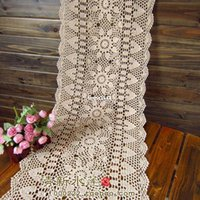 cotton table runner - IKEA white Biege rectangle crochet hook cotton flowers lace table runner for wedding table overlay vintage cutout