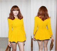 V-Neck korea fashion blouse - Fashion Temperament Autunm Spring Korea Lady Girl Women s Blouse Puff Sleeve Fitted Peplum Tops Cotton Blends T shirt Plus Size Shirts