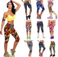 Wholesale Hot Sale women Slim Leggings Floral women Leggings Stretchy Pant Gym leggings Digital Print Leggings lady sports pants LJJD2420