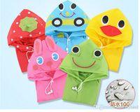 Wholesale hot selling Kids Funny Kids Raincoat Rainwear Rainsuit Child Cartoon Auto Duck Bunny Frog