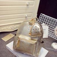 Wholesale 2015 Summer colors New Handbag Korean Fashion Rivet Fashion Backpack Female Models Small Travel Bag Backpack School Bag