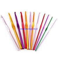Stitches aluminium knitting needles - Hot Sale New Arrive Sewing Notions Tools Multi Coloured Aluminium Crochet Needles Hooks mm mm Set Knitting Stitches