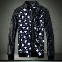 Wholesale Fall Black Pu Leather Jacket High Quality Outerwear Zipper Jackets Hommes Men Coat Motocycle Biker Jacket Jaqueta De Couro Size M XL