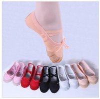 Wholesale Hot Children Soft Sole Girls Ballet Shoes Women Ballet Dance Shoes For Kids Adult Ladies Fitness Breathable Canvas Practice Gym Slippers