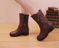 Wholesale In the new winter boots leather boots with female boots boots Martin boots