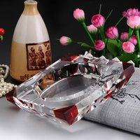 Wholesale High grade red square corner gussets straight hole crystal ashtray variety of optional color ornaments decorations