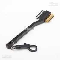 Wholesale 100 Dual Bristles Golf Club Brush Cleaner Ball Way Cleaning Clip Plastic Groove A quality