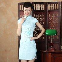 Wholesale Chinese traditional qipao short sexy split cheongsam embroidery fashion dress vestido de festa slim vintage qiapo