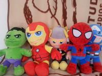 Precio de Superhéroes juguetes de peluche-Hombre de araña estupendo libre del héroe del héroe del envío 5PCS / lot los 30cm + juguete verde de la felpa de Giant + Iron + American Captain + Thor para la figura felpa doll16 del anime de los niños