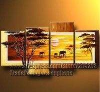 Cheap Framed 4 Panel Large Modern African Canvas Art Oil Painting Wall Picture for Bedroom Decor XD00030
