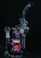 nail lights - New toro glass bong have Domeless quartz nail glass percolator with LED light have red yellow blue three color the led light case