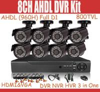 cctv cctv dvr - 8CH CCTV System AHDL H Full D1 DVR Kit Hybrid DVR NVR HVR IN tvl CMOS outdoor IR CCTV camera waterproof Security camera System